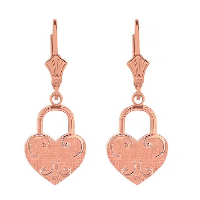 14k Solid Rose Gold Swirl Heart Padlock Earring Set