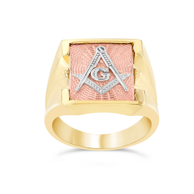 Men's Masonic Ring in Tri-Color Gold