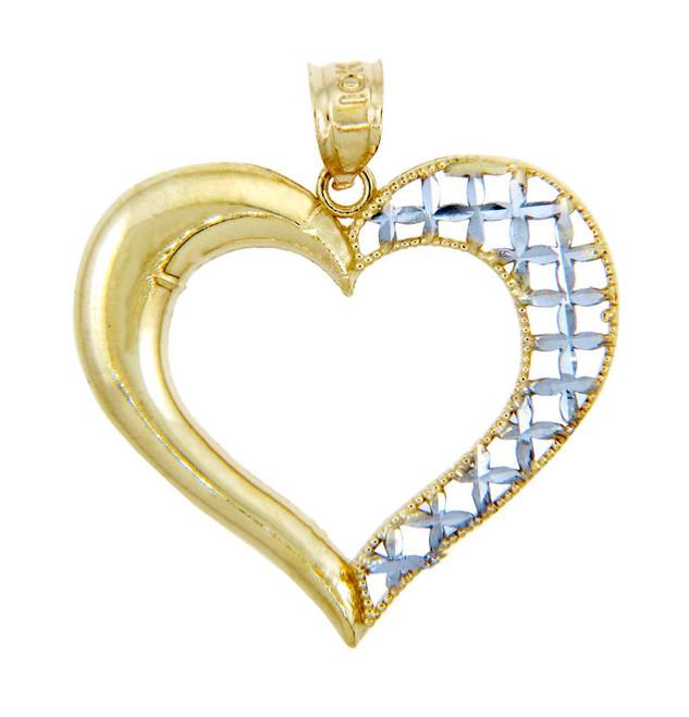 Gold Pendants - Two Tone Gold Heart Pendant with Latticework