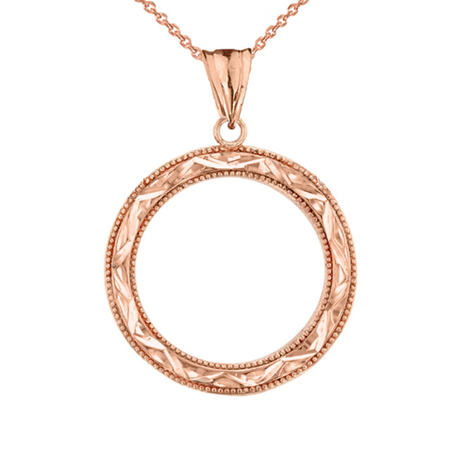 Chic Sparkle Cut Circle of Life Pendant Necklace in Rose Gold