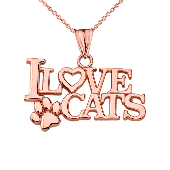 """I Love Cats"" Pendant Necklace in Rose Gold"
