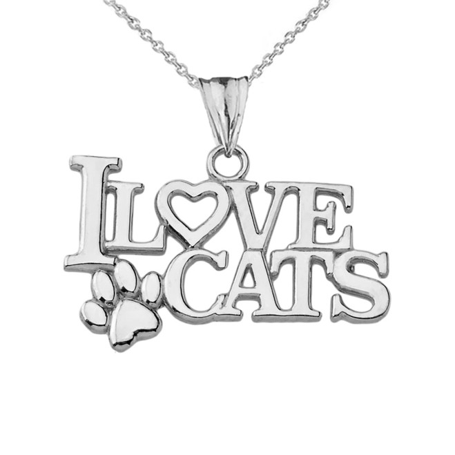 """I Love Cats"" Pendant Necklace in Sterling Silver"