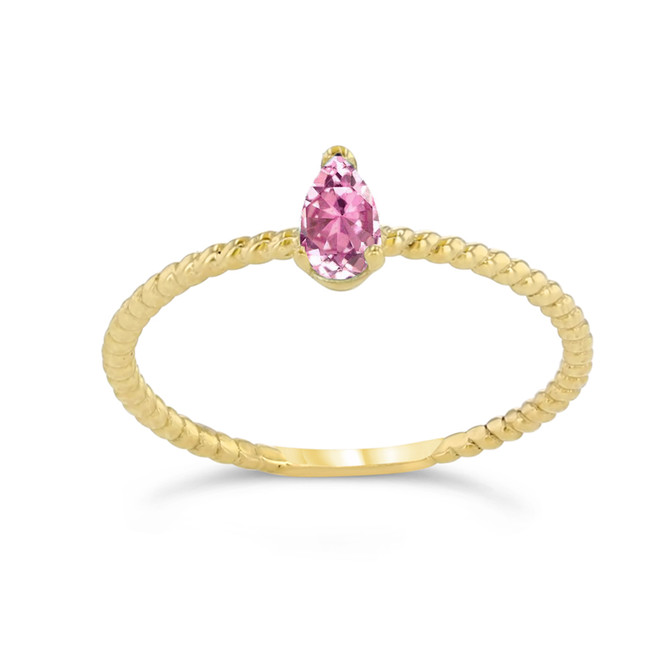 Dainty Pink CZ Pear Shape Rope Ring in Yellow Gold