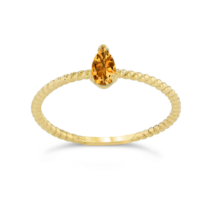 Dainty Genuine Citrine Pear Shape Rope Ring in Yellow Gold