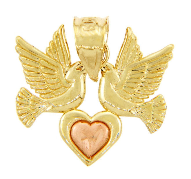 Gold Pendants - Two Tone Gold Heart Pendant with LoveBirds