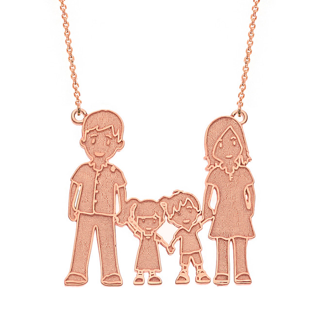 14k Solid Rose Gold Mother Father Son Daughter Family Necklace