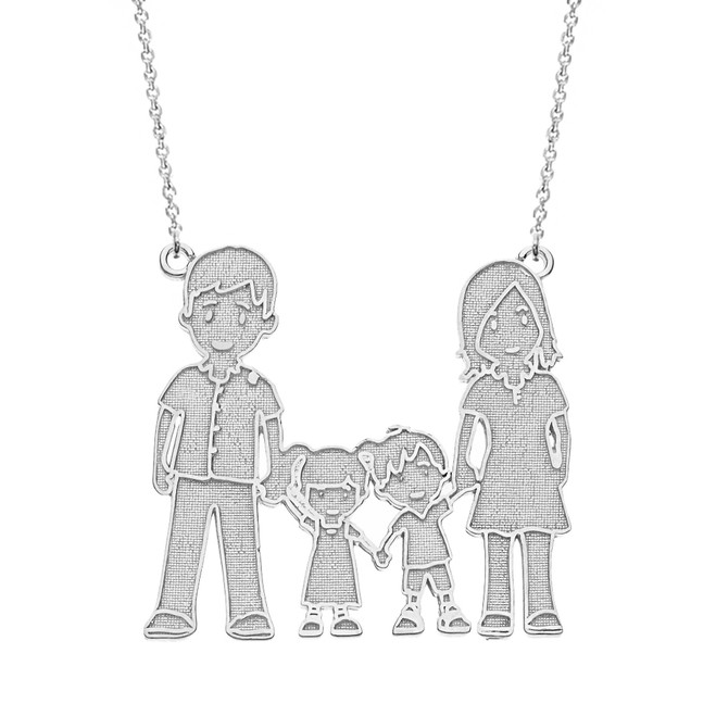 Sterling Silver Mother Father Son Daughter Family Necklace
