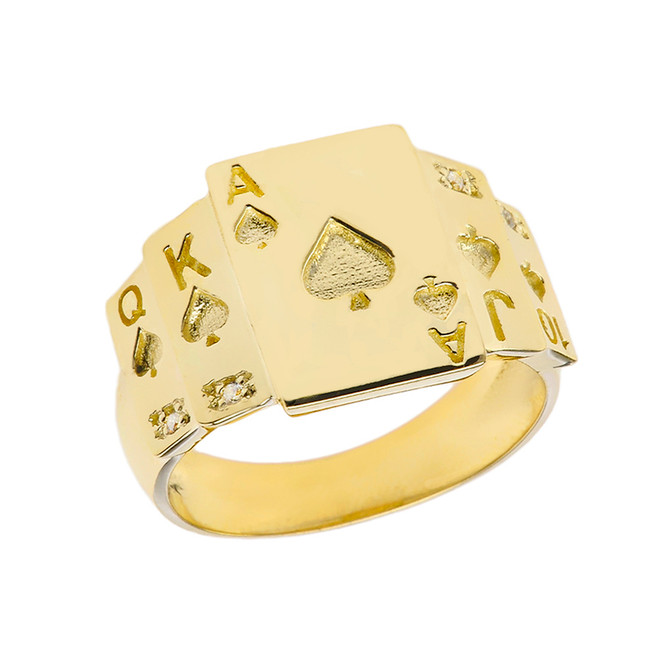 """Ace of Spades"" Royal Flush Diamond Ring in Yellow Gold"
