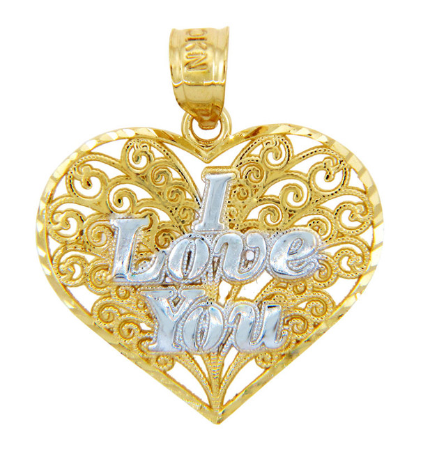 Gold Pendants - Two Tone Gold I Love You Fancy Heart Pendant