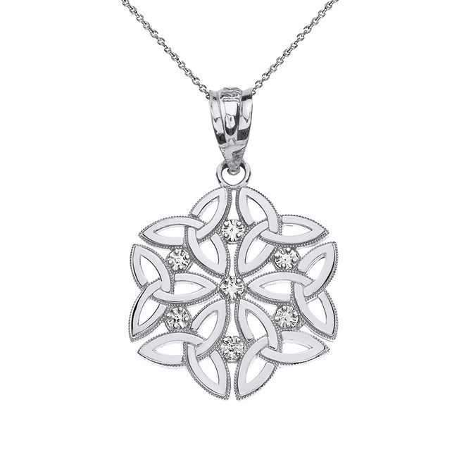 Solid White Gold Diamond Triquetra Celtic Dara Endless Knot Pendant Necklace