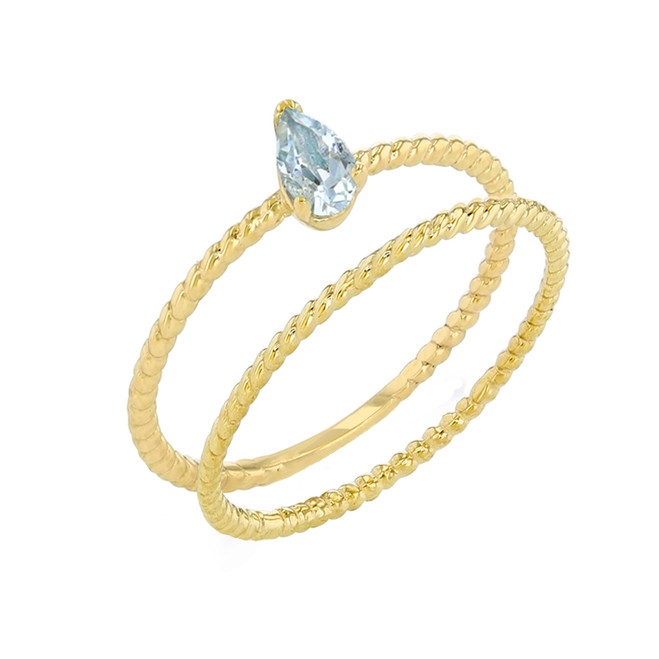 Modern Dainty Genuine Aquamarine Pear Shape Rope Ring Stacking Set in Yellow Gold