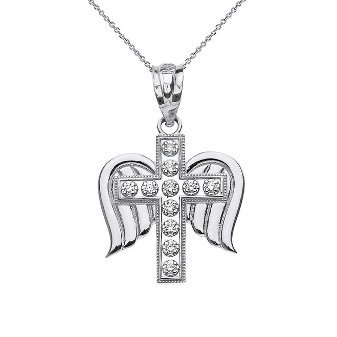 Solid White Gold Diamond Winged Cross Pendant Necklace