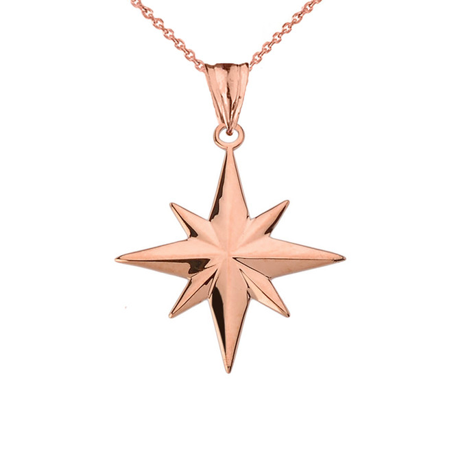 North Star Pendant Necklace in Rose Gold