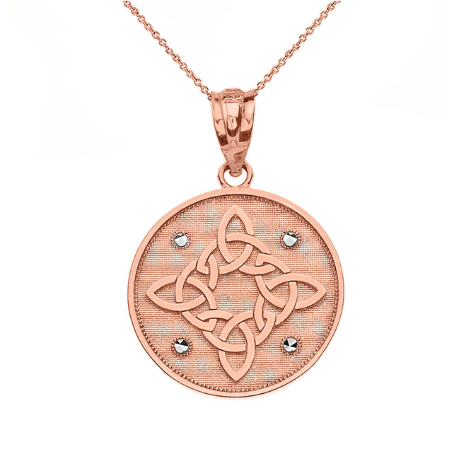 Solid Rose Gold Diamond Cut Celtic Trinity Knot Circle Pendant Necklace