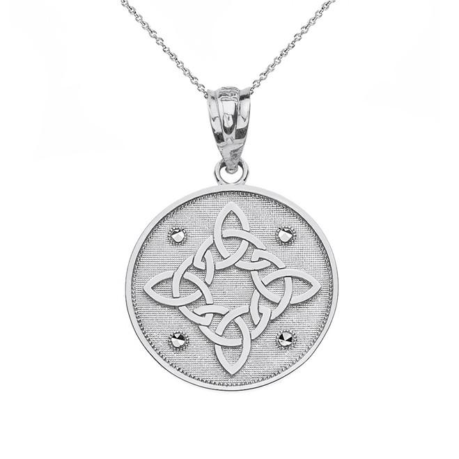 Sterling Silver Diamond Cut Celtic Trinity Knot Circle Pendant Necklace
