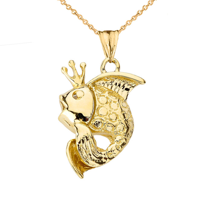 King Gold Fish Pendant Necklace in Yellow Gold
