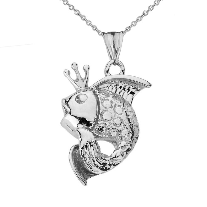 King Gold Fish Pendant Necklace in White Gold