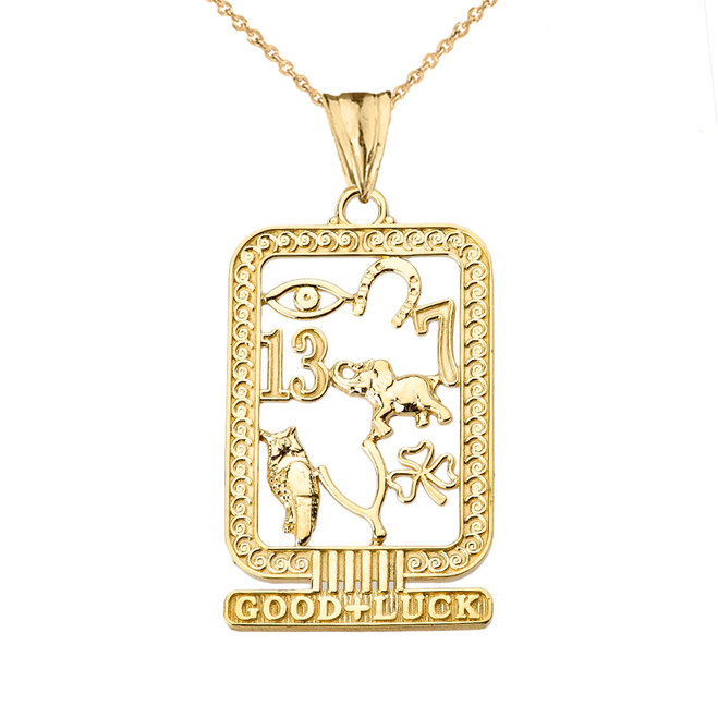 Ancient Egyptian Good Luck Cartouche Pendant Necklace in Yellow Gold