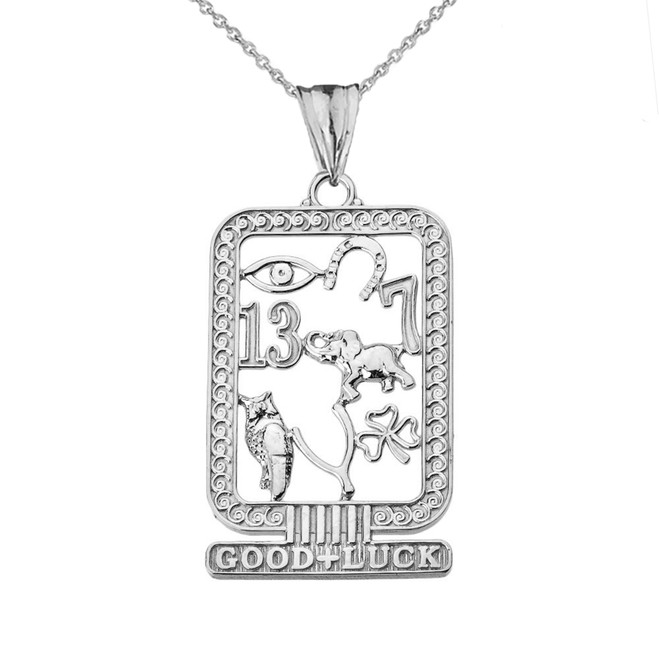 Ancient Egyptian Good Luck Cartouche Pendant Necklace in Sterling Silver