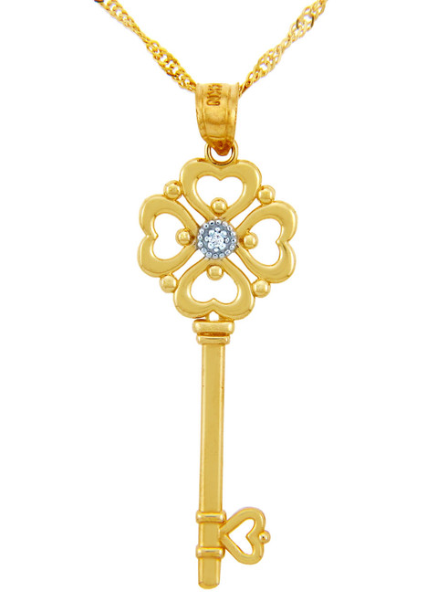 Valentines Special Heart Diamonds - Gold Key with Hearts and Center Diamond (w Chain)