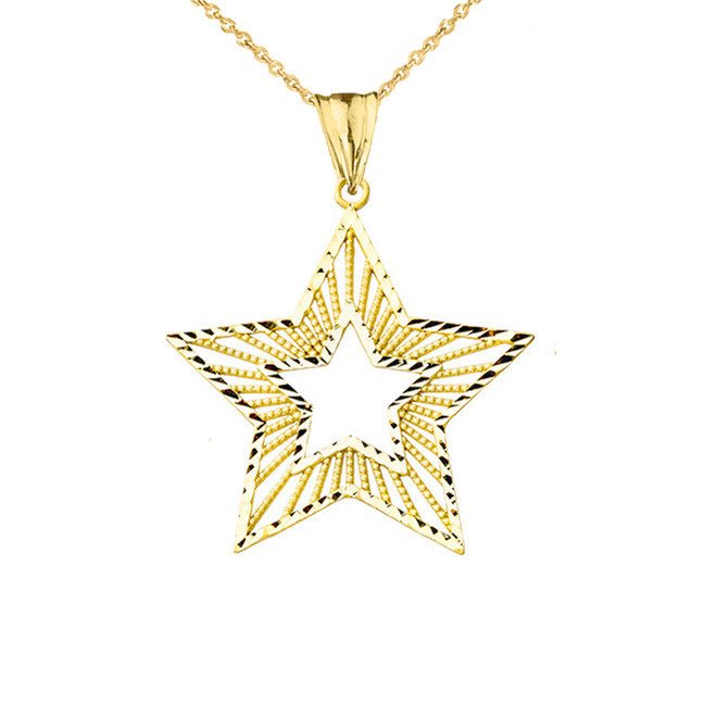 Handmade Designer Boho Chic Star Statement Pendant in Yellow Gold