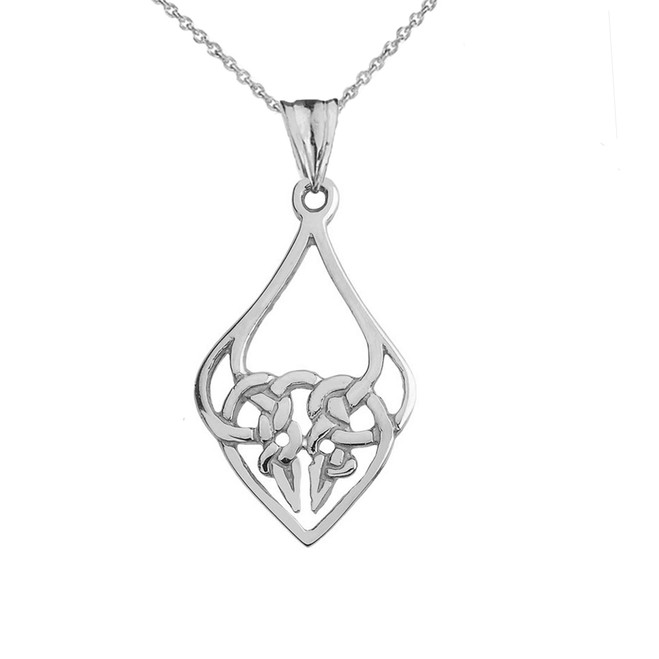 Designer Celtic Knot Statement Pendant Necklace in White Gold