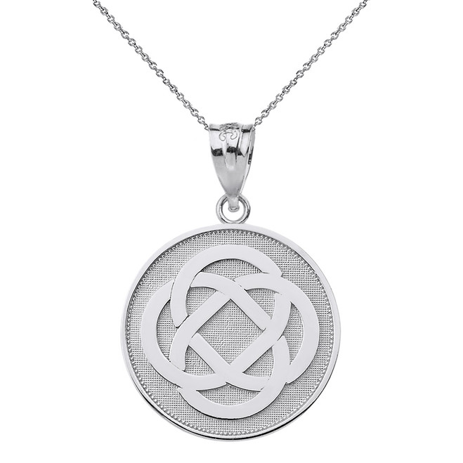 Sterling Silver Celtic Knot Flower Disc Pendant Necklace