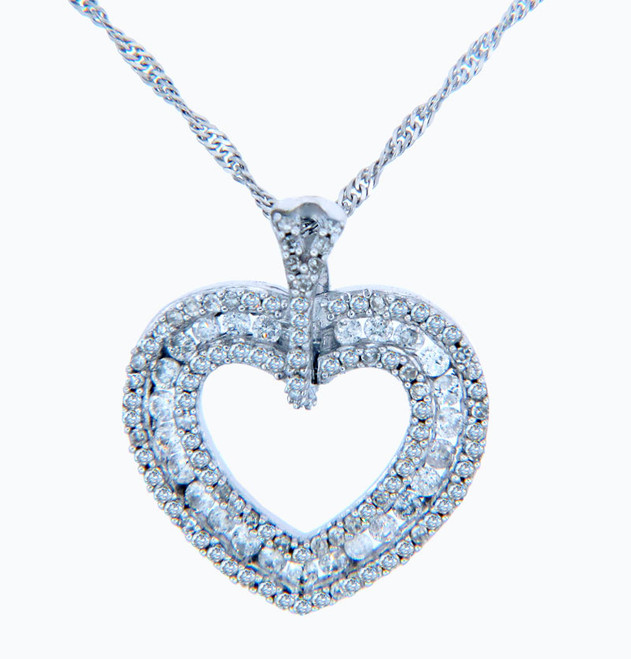 Valentines Special Heart Diamonds - White Gold Regal Diamond Heart Pendant (w Chain)