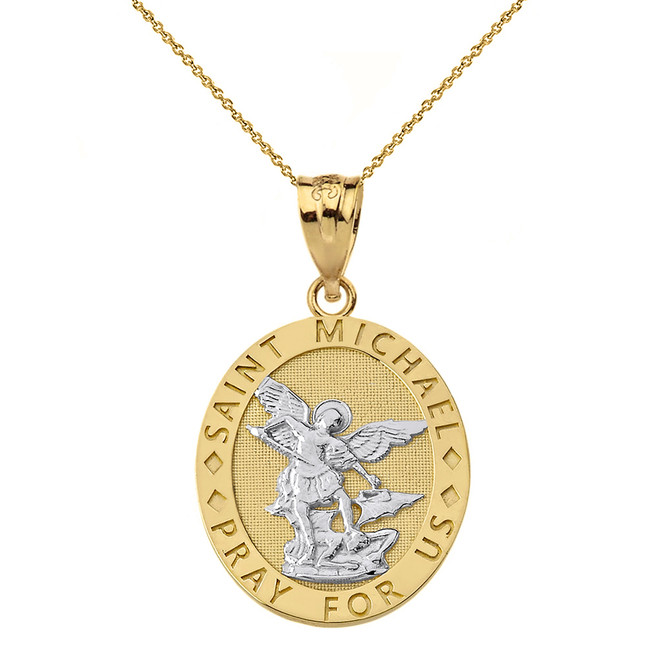 Solid Two Tone Yellow Gold Engravable Saint Michael Pray For Us Oval Pendant Necklace