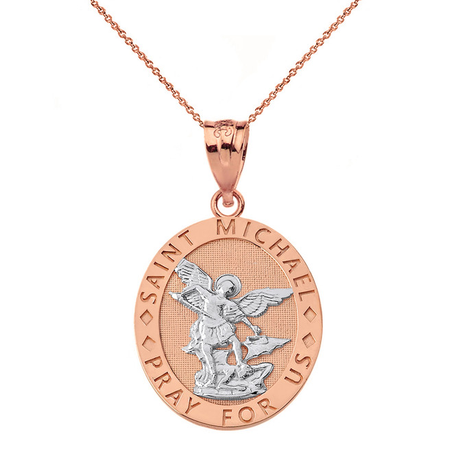 Solid Two Tone Rose Gold Saint Michael Pray For Us Oval Pendant Necklace