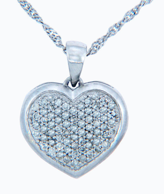 Valentines Special Heart Diamonds - 10K White Gold Heart Pendant with Diamonds (w Chain)
