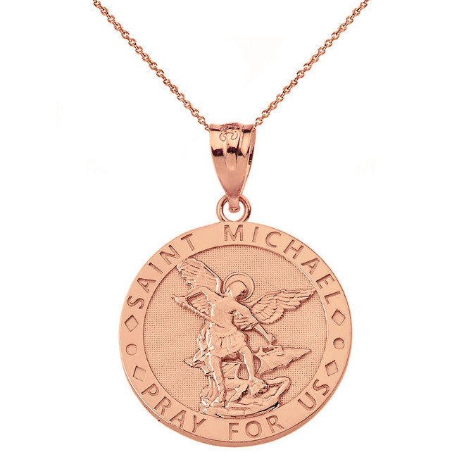 Solid Rose Gold Engravable Saint Michael Pray For Us Circle Pendant Necklace