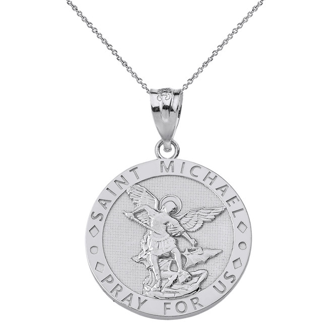 Sterling Silver Engravable Saint Michael Pray For Us Circle Pendant Necklace