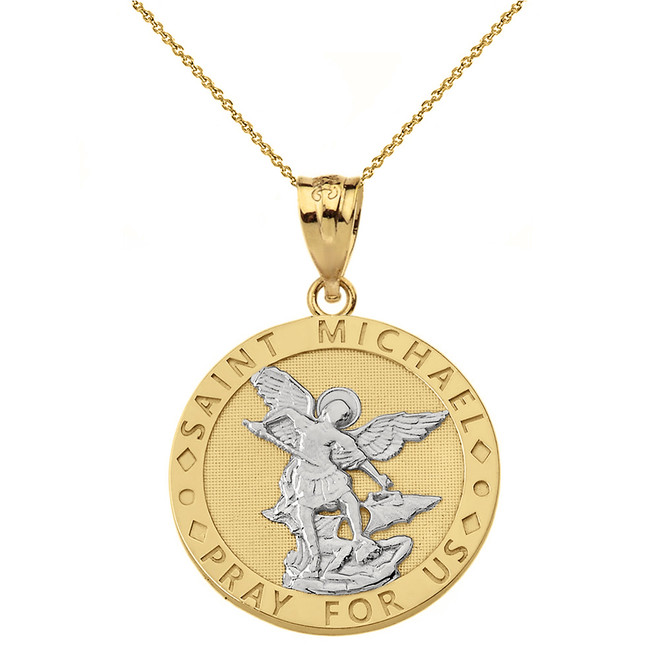 Solid Two Tone Yellow Gold Engravable Saint Michael Pray For Us Circle Pendant Necklace