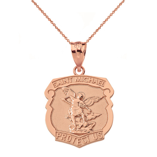 Solid Rose Gold Saint Michael Protect Us Shield Pendant Necklace