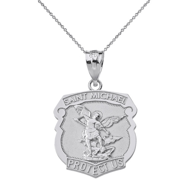 Solid White Gold Saint Michael Protect Us Shield Pendant Necklace