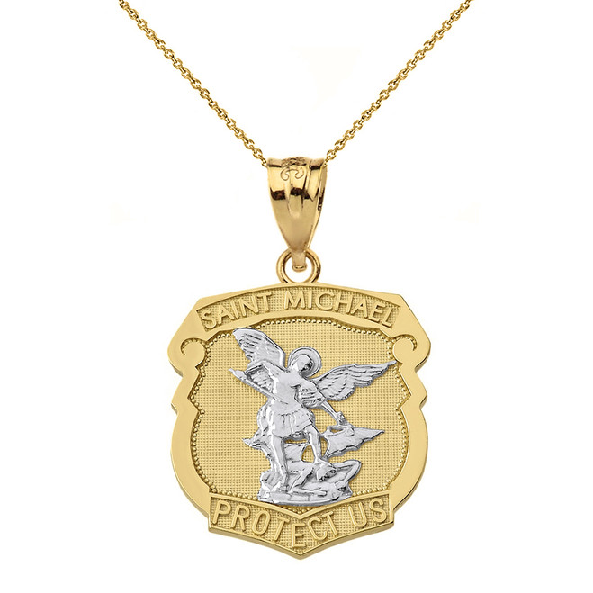 Solid Two Tone Yellow Gold Saint Michael Protect Us Shield Pendant Necklace