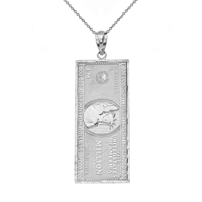Solid White Gold Double Sided Million Dollar Bill Money Pendant Necklace (Medium)