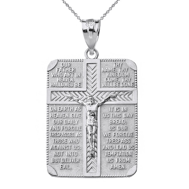 Solid White Gold The Lord's Our Father Prayer Crucifix Rectangular Tag Pendant Necklace