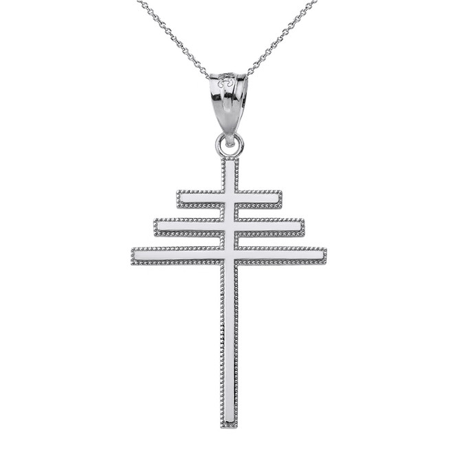 Solid White Gold Papal Cross Pendant Necklace