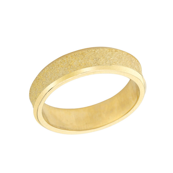 Rock Satin (6 MM) Wedding Band in Solid Yellow Gold