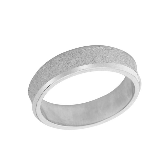 Rock Satin (6 MM) Wedding Band in Solid White Gold