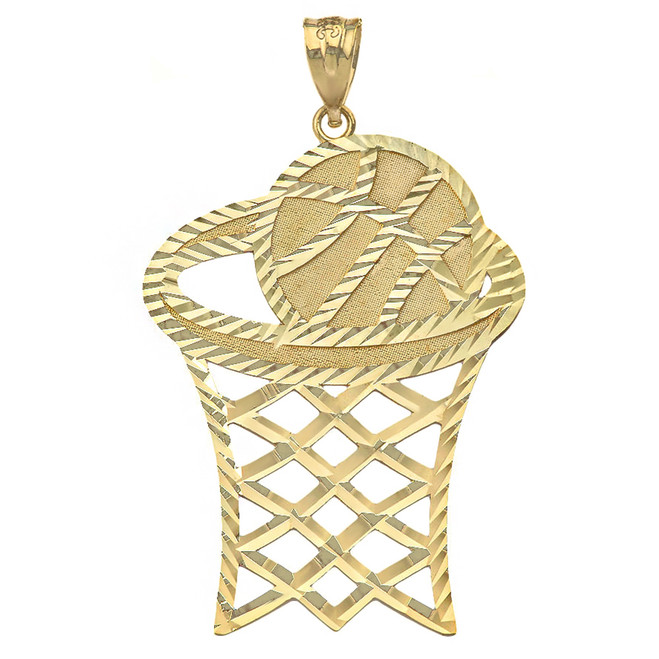 Solid Yellow Gold Large Sparkle Cut Basketball Hoop Pendant