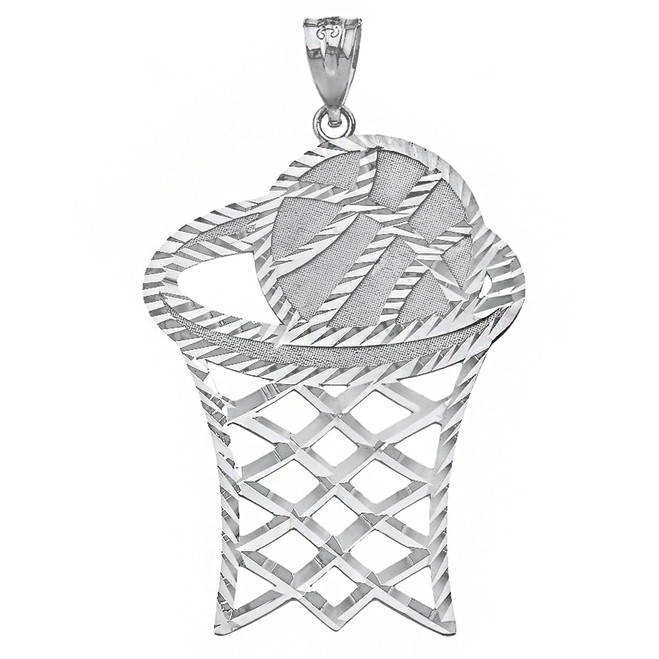 Sterling Silver Large Sparkle Cut Basketball Hoop Pendant