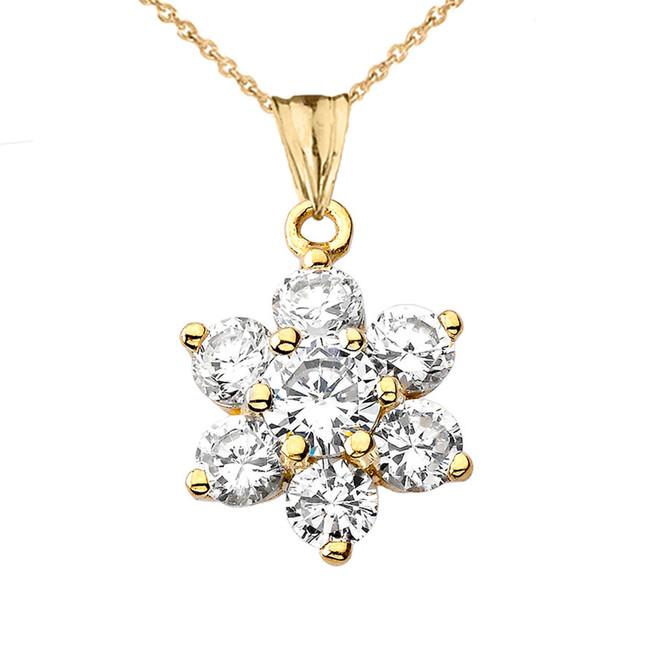 Elegant Dainty Cubic Zirconia Pendant Necklace in Yellow Gold