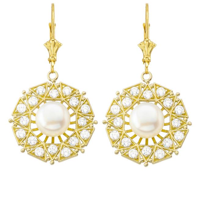 Elegant Designer Diamond & Pearl Filigree Earrings in Yellow Gold