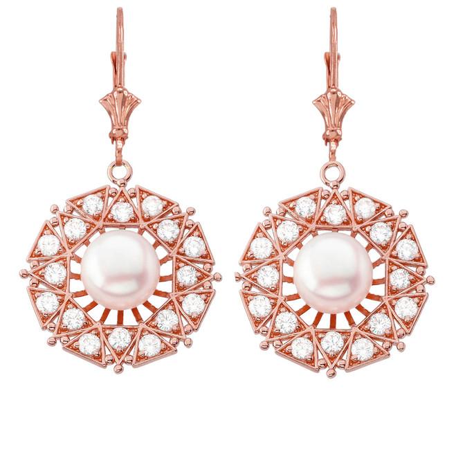 Elegant Designer Diamond & Pearl Filigree Earrings in 14K Rose Gold