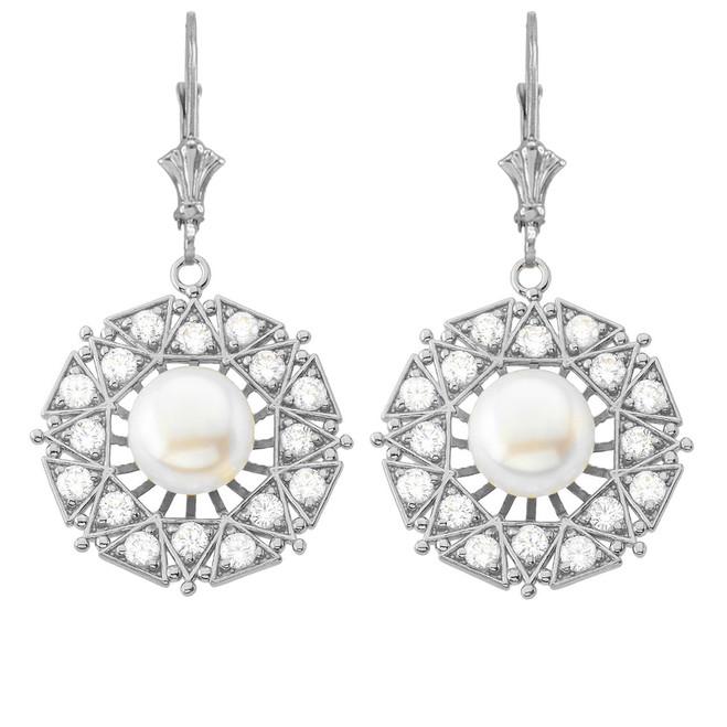 Elegant Designer Diamond & Pearl Filigree Earrings in 14K White Gold