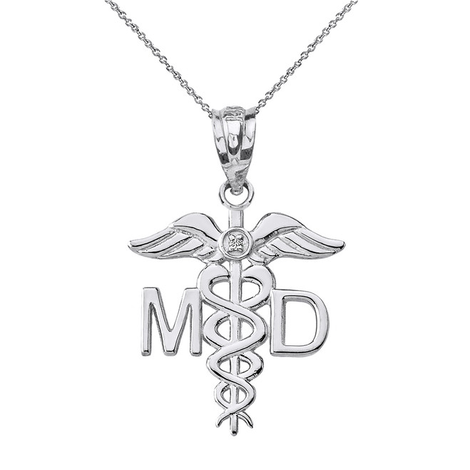 Solid White Gold Diamond Medical Doctor Pendant Necklace