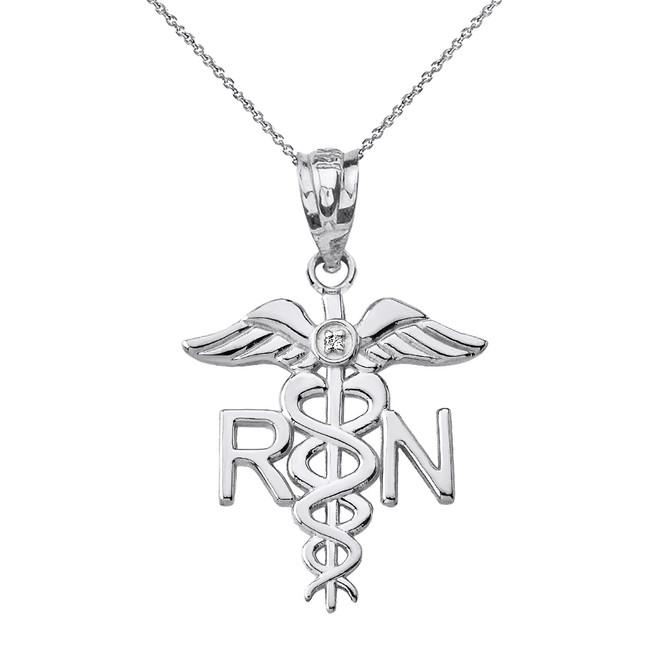 Solid White Gold Diamond Registered Nurse Doctor Pendant Necklace